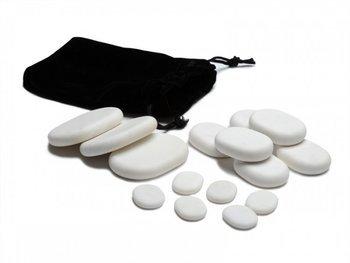 Zestaw 15 kamieni do masażu z marmuru białego